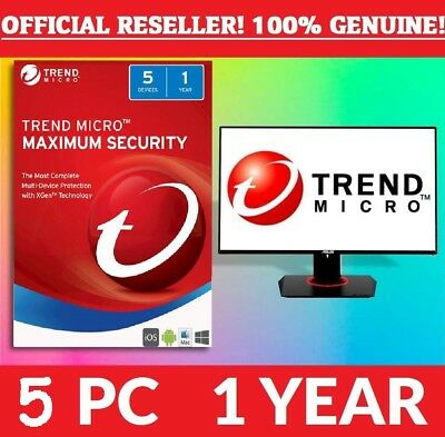Trend Micro Maximum Security 2018 | 5 Devices | 1 Year Subscription | PC/Mac |