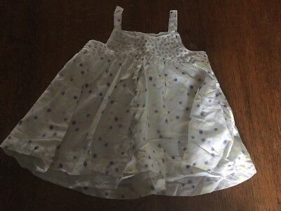 M & S  Autograph Baby Girl's White Spotty Smock Top 12-18 Months