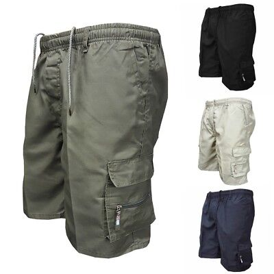 Mens Summer Elastic Plain Shorts Cotton Lightweight Cargo Combat Pants M-3XL XY