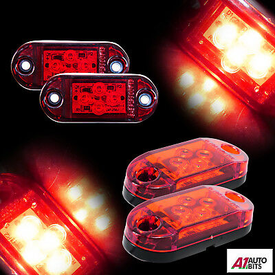 2x 12v 4 Led Rear Side Tail Marker Lights Lamps Trailer Truck Lorry Van Bus