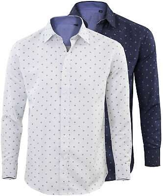 Camicia Manica Lunga Uomo Regular Fit Casual Basic Bianco Blu GIROGAMA 2415IT