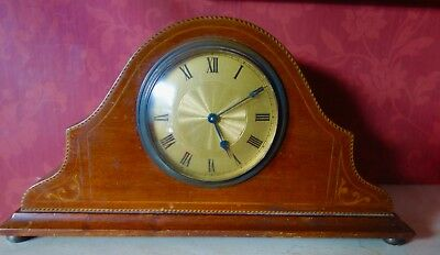 Vintage Art Deco Wind Up Mantel Clock With Brass Face-8 Day And Running