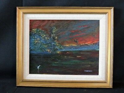"CHARLES ""CHICO"" WHEELER HOF FL HIGHWAYMEN OIL ON MASONITE SIGNED 2x FRAMED"