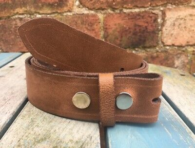 Brown Worn Look Real Leather Press Stud Snap Belt Choice of Widths Handmade