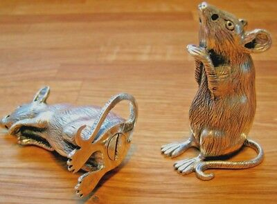 Large Pair Of Solid Sterling Silver Novelty Rat Mice Cruet Salt Pepper Shaker