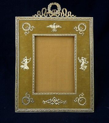 Antique French Bronze Picture Frame Empire Pattern With Laurel Wreathes