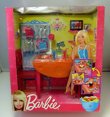 Barbie Dining Room Set Doll Accessories New Factory Sealed T7536