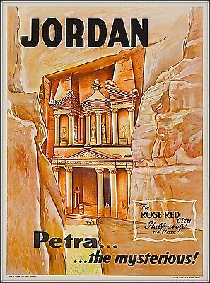 Petra the mysterious Jordan Middle East Travel Vintage Advertisement Art Poster