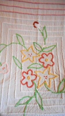 Chenille Bedspread Cutter Quilts as is, white with color flowers