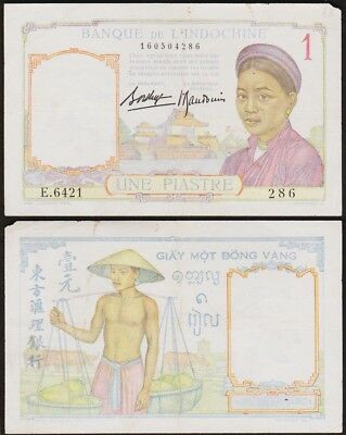 1 PIASTRE 1936 INDOCHINE - France / French Indo China  #54b (E.6421 286)