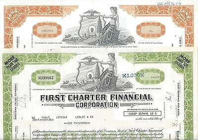 Lot: 2 x First Charter Financial Corporation