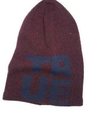 3a6f43ab781 True Religion Jeans men s Ox Blood Slouchy Knit Beanie Hat Cap