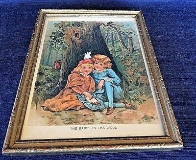 VINTAGE ANTIQUE FRAMED LITHOGRAPH FROM 1897 MOTHER GOOSE The Babes in the Woods