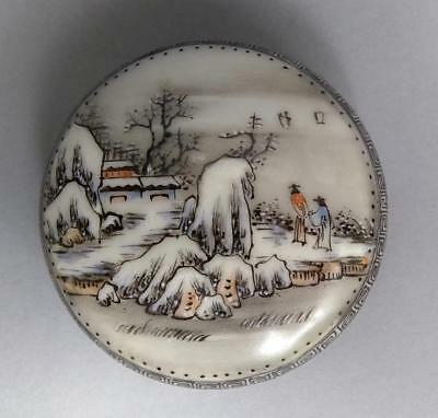 Chinese Republic Period Famille Rose Porcelain Box Handpainted Winter Landscape