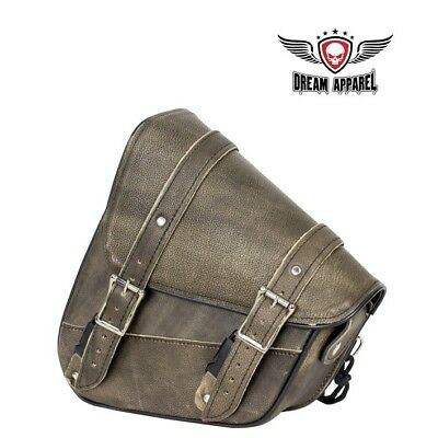 Universal Fit Motorcycle Left Side Solo Swing Arm Bag Distressed Brown Leather