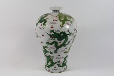 43 cm Vase Porzellan handbemalt Drachen sign. China