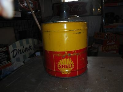 Original Vintage Shell 5 Gallon Oil Can Dent in the Top