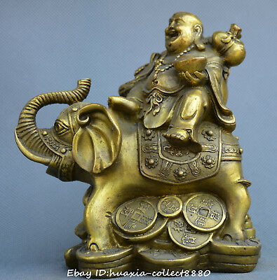 Collect China fengshui old Bronze Maitreya Buddha Sitting elephant wealth Statue