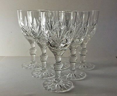 """6 Small Cut Crystal Ball Stem Claret Wine Goblets Glasses 5"""""""