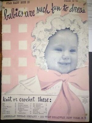 "Vintage knit/crochet ""Babies Are Such Fun to Dress"" Star Baby Book 20"