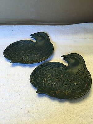 Vintage Pair Of Cast Iron Quail/Bird Shaped Plates/Trays