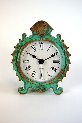 Mantle Table Clock Vintage style Duck Egg Blue Distressed Ornate