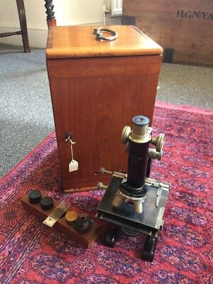 Antique London Make Monocular Microscope With Original Box And Lenses Victorian