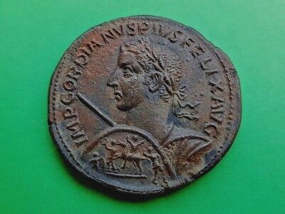1. Gordian III - Extremely Rare Copper Coin, Medaillon - 42,11g; 42mm