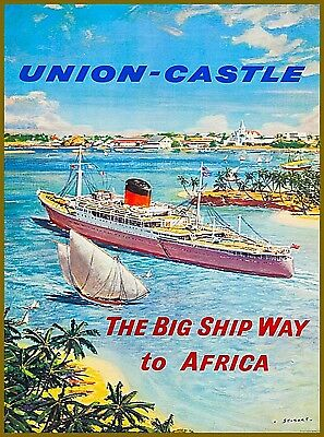 Union Castle Africa Vintage Oceanliner Travel Advertisement Art Poster Print