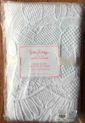 New~Pottery Barn Lilly Pulitzer Crib Skirt In Eyelet Trim