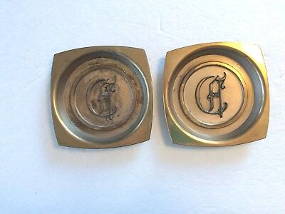 Vintage, Pair of Hyde Park Brass Ashtrays / Coasters