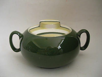 W S George CARAVAN Ranchero Retro Covered Sugar Bowl Green Lime Stripe 1951 RARE