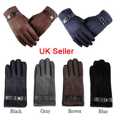 Mens Women Leather Gloves Touch Screen Thermal Driving Warm Winter Fleece Liner