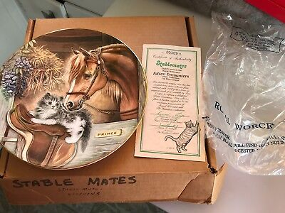"1986 Royal Worcester ""STABLEMATES""  Kitten Encounters PLATE Pam Cooper BOX COA b"