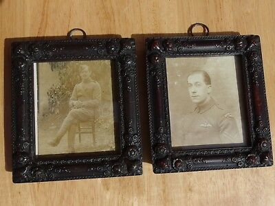 Pair of Beautiful WW1 Trench Art  Picture Frames with original R.F.C photos