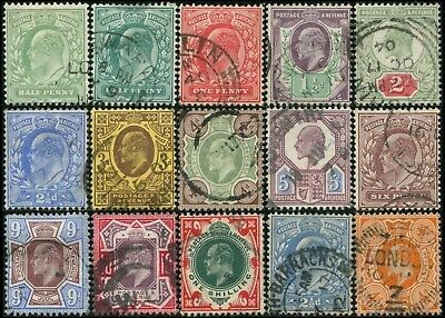 GB/UK/Great-Britain KEVII  lot 15 timbres/stamps 1902-1911  Oblitéré/Used