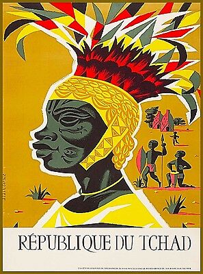Republic of Chad Africa African Vintage Travel Advertisement Art Poster Print