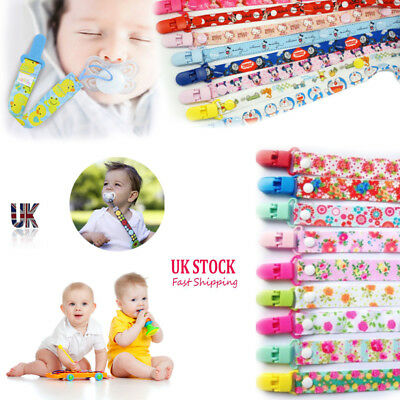 THEMED Dummy Clips Cartoon Holder Soother Pacifier chain boy girls baby strap UK