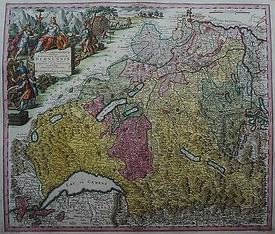 Republik Bern - Mappa geographica illustris Helvetiorum... - Seutter 1730 - Rar