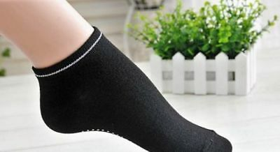 NON SLIP PILATES YOGA COTTON SPORTS GRIP SOCKS FITNESS EXCERCISE GYM LAIDES-bk