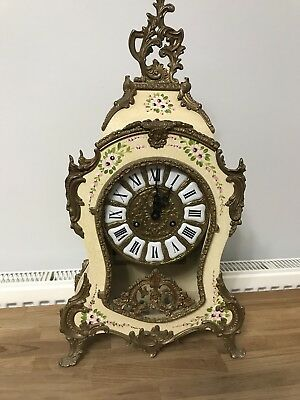 Franz hermle Antique style mantel Clock French Louis XV style ornate & key chime