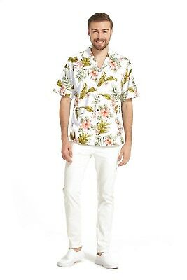 e890fc62 Made in Hawaii Men Aloha Shirt Luau Cruise Party Cluster Floral Leaf in  White