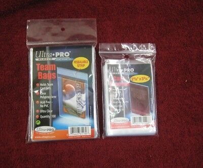 100 Ultra Pro Sleeves Soft Standard 81126 Penny Card & 100 Ultra Pro Team Bags