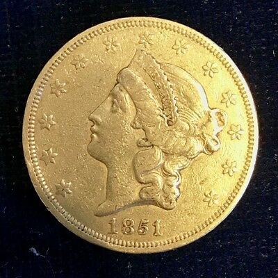 1851 Double Eagle, $20 Good Liberty, Without Motto On R