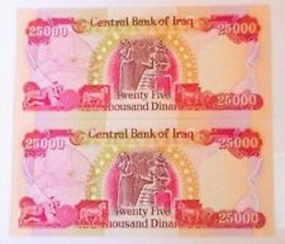 100,000 New Iraqi Dinar 4 X 25,000 Circulated Banknotes Authentic Free Tracking
