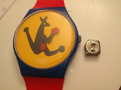 Vtg Keith Haring Swatch Wall Sized Clock Red Blue Dog Modernist Wall Art 82.5""