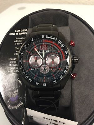 Citizen Eco-DRIVE CA4195-51E Men's Black /Red Stainless Solar Chronograph Watch