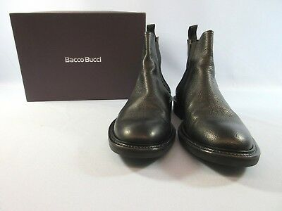 Bacco Bucci Ankle Boots Italy Men's Pull On Black Pebbled Leather 9.5 M NIB