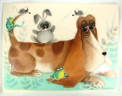 "George Buckett ORIGINAL 1968 Artwork for Big Eyed Dog - Large 22-3/4"" X 17-3/4"""