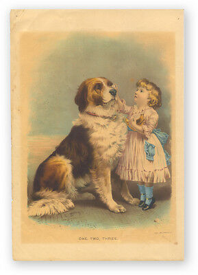 """Antique Victorian Lithograph of St. Bernard Dog and Little Girl """"One Two Three"""""""